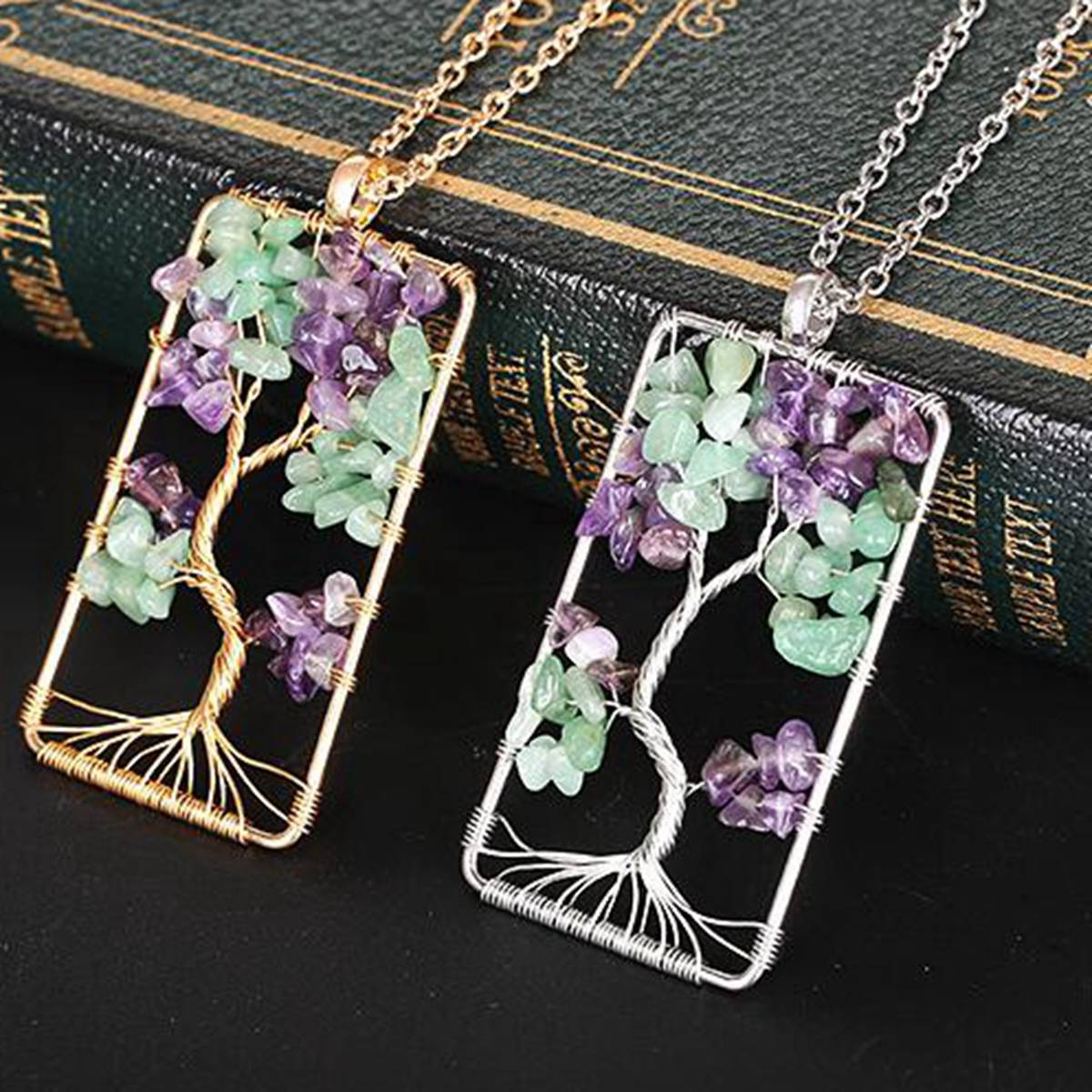 Real Amethyst Owl in the Tree of Life Pendant or Choker Necklace Reiki Crystal