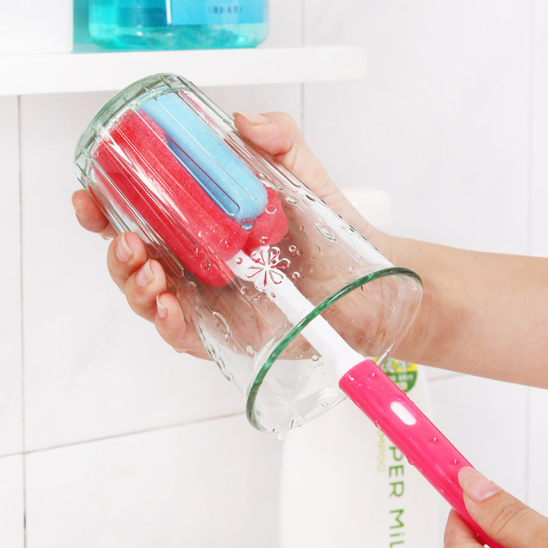 Telescopic be hanging cup portable simple and durable sponge brush cleaning brush bottle brush