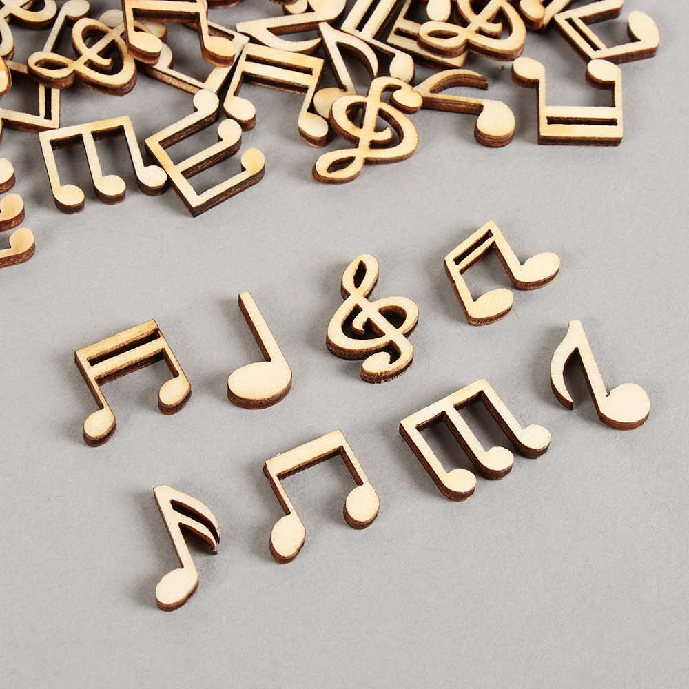 100Pcs/Pack 14x15mm Mix Wooden Cute Music Notes Handcrafts Wooden Decor Scrapbooking For DIY Accessories Home Decor