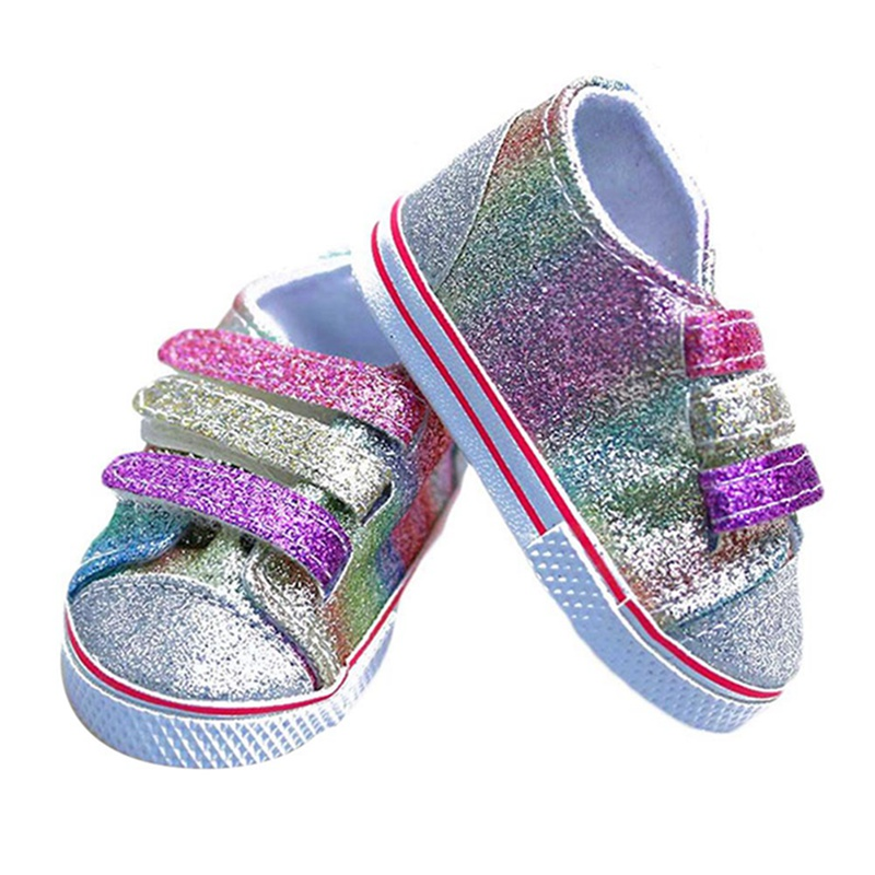 Sequins Shoes Fits 18 Inch Doll 43CM Baby Born Dolls Reborn Baby Doll Shoes For American Doll Girl Boots Golden Color Random american girl doll clothes superman and spider man cosplay costume doll clothes for 18 inch dolls baby doll accessories d 3