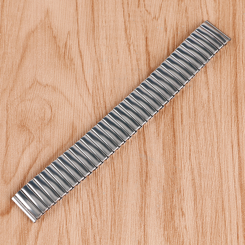 18mm Band Width Silver Stainless Steel Wrist Watch Expansion Buckle Band Strap Mens Womens 2 Spring