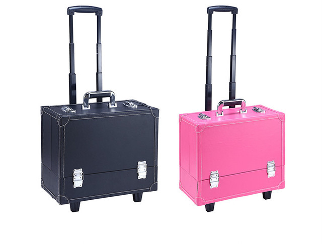Rolling Makeup Case Train Box Trolley Cosmetic Storage Case With Inner Tray  Balck/Pink