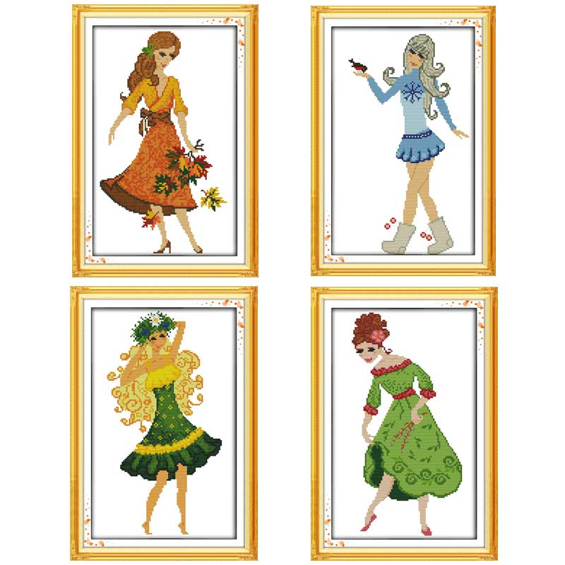 Beauty Girl Skirt painting counted Cross Stitch 11CT 14CT Cross Stitch Set Wholesale DIY Cross-stitch Kit Embroidery Needlework