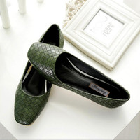 new spring autumn flat leisure casual Black, apricot, green PU square head flat shoes Plus Size 42 43 Women Shoe Boat shoes