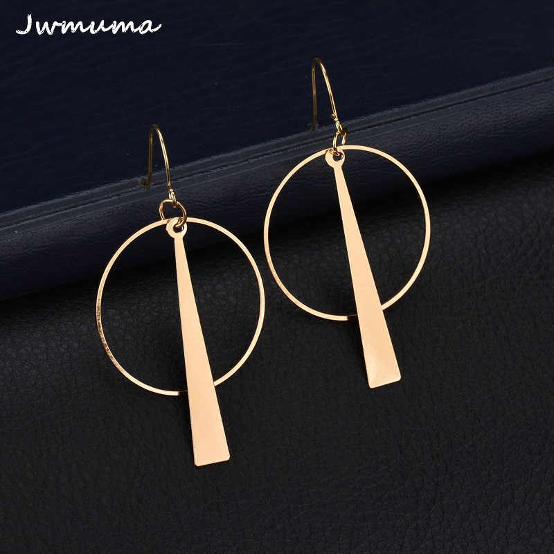 2018 new exaggerated geometric circle earrings Long women's metal earrings alloy jewelry accessories Party gift For women