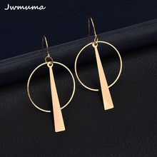 2018 new exaggerated geometric circle earrings Long women's metal earrings alloy jewelry accessories Party gift For women(China)