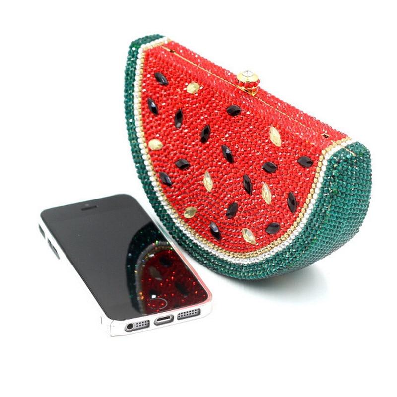 Mujeres moda especialmente diamante crossbody bolsa de Fruta de la Sandía Monede