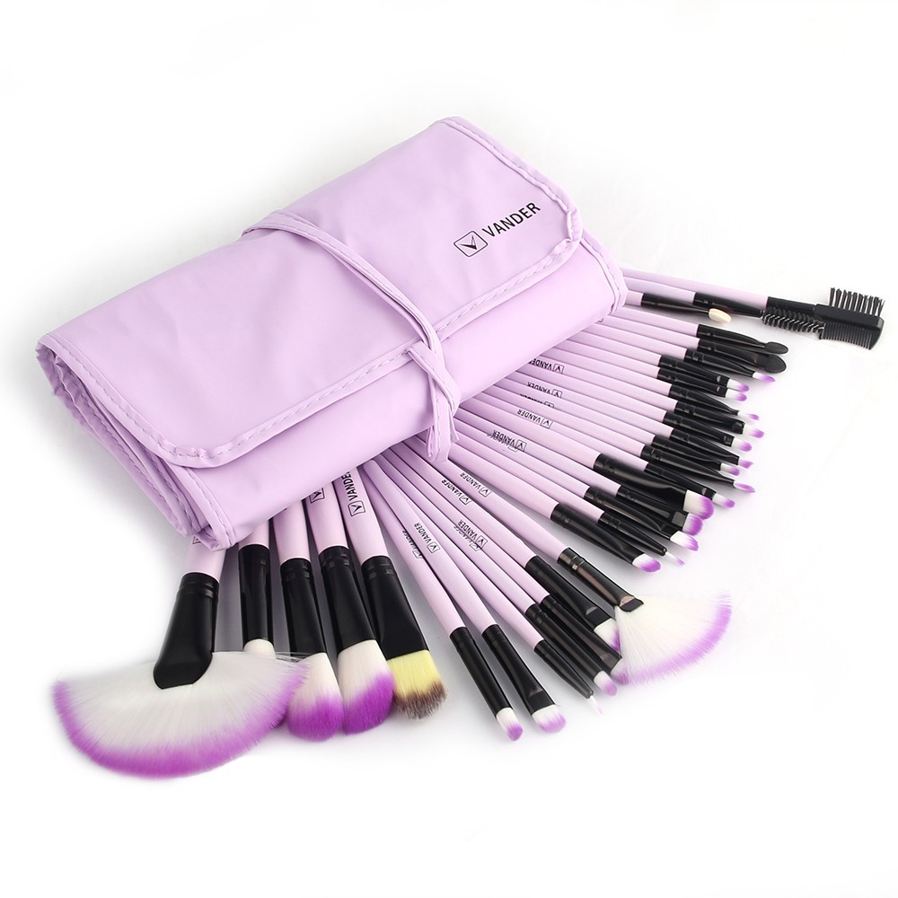 1Set  VANDER 32Pcs/Set Professional Makeup Brush Foundation Eye Shadows Lipsticks Powder  Brushes Tools w/ Bag pincel ma