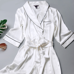 Image 5 - R202 여성 실크 새틴 웨딩 신부 들러리 가운 기모노 목욕 잠옷 가운 대형