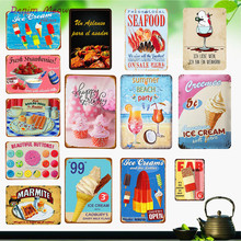 Newest Ice Cream Plaque Metal Vintage Milkshakes Shabby Chic Decor Seafood for Living Room Kitchen Chandy Shop Art Posters WY12