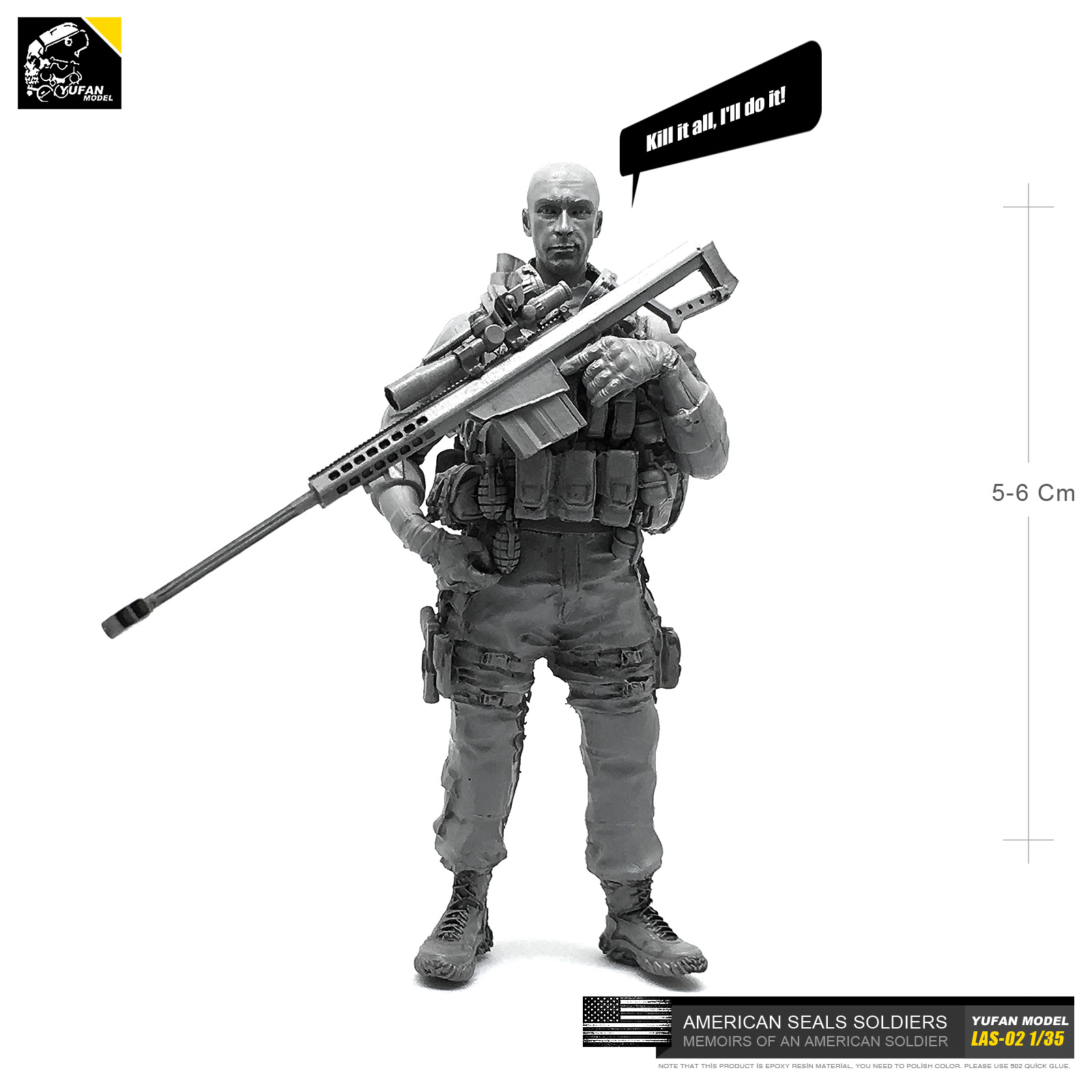Yufan Model 1/35 Model Kits Us Seal Sniper 1 Sniper Resin Soldier Las-02