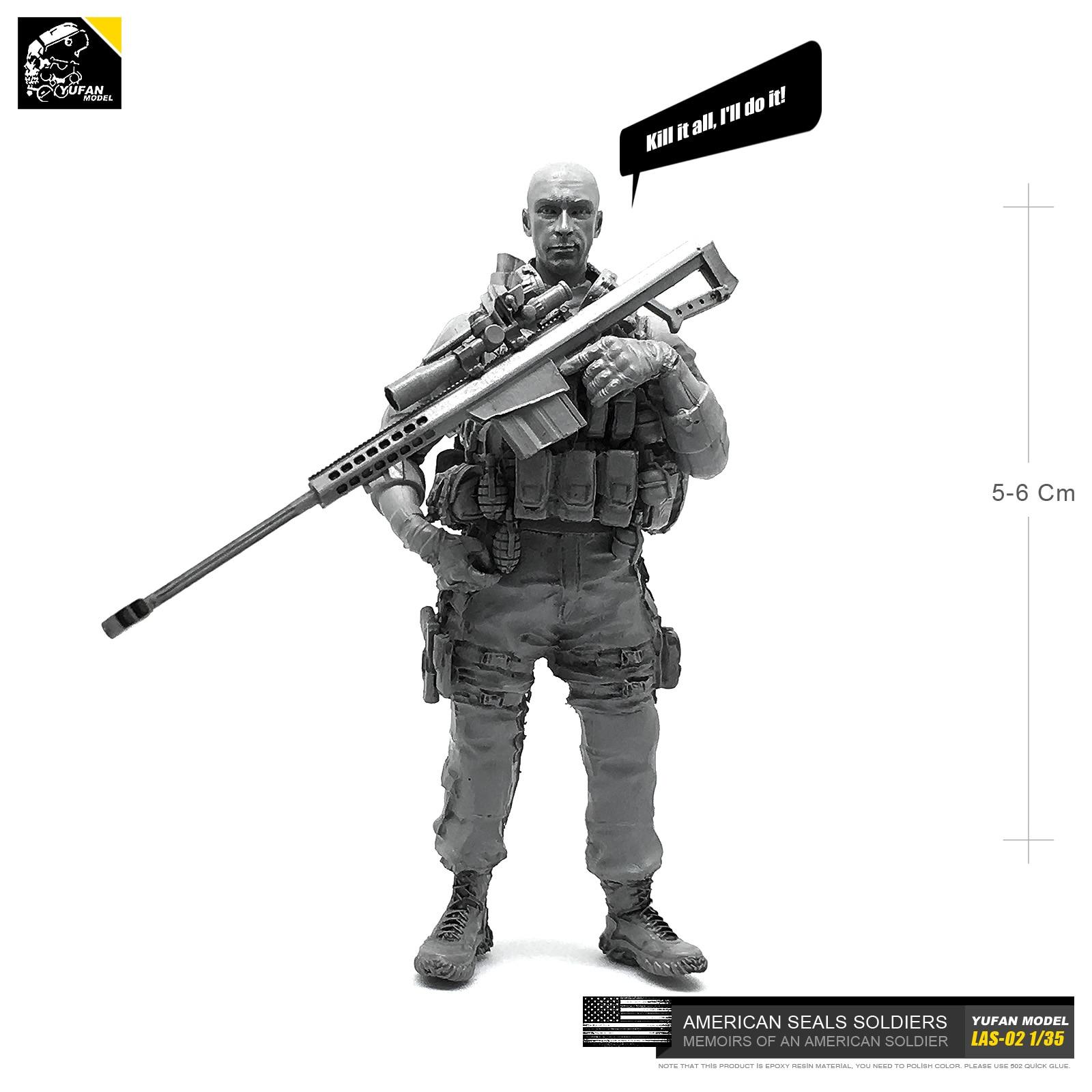 Yufan Model 1/35 Model Kits Us Seal Sniper 1 Sniper Resin Soldier Las-02