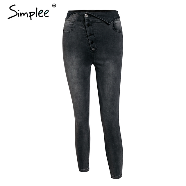 Simplee Sexy skinny denim jeans women High waist buttons fold streetwear pants capris Summer fashion female gray pencil jeans