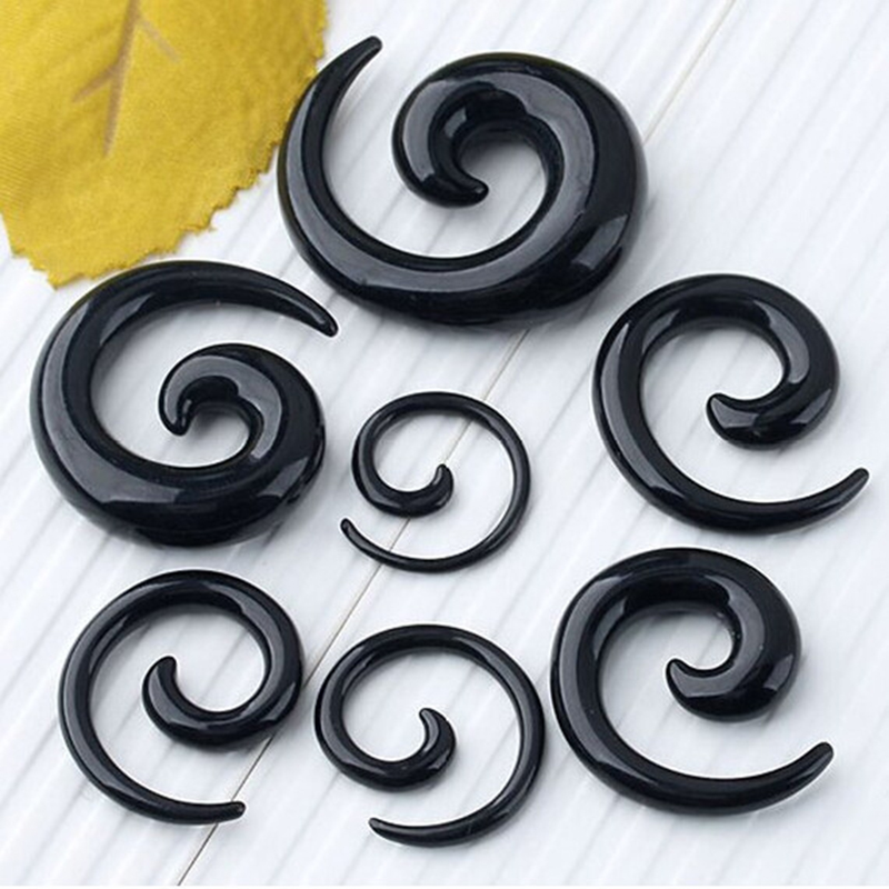1 pair acrylic Snail Spiral Ear Plugs Flesh Tunnel Expander body piercing jewelry PAP0408