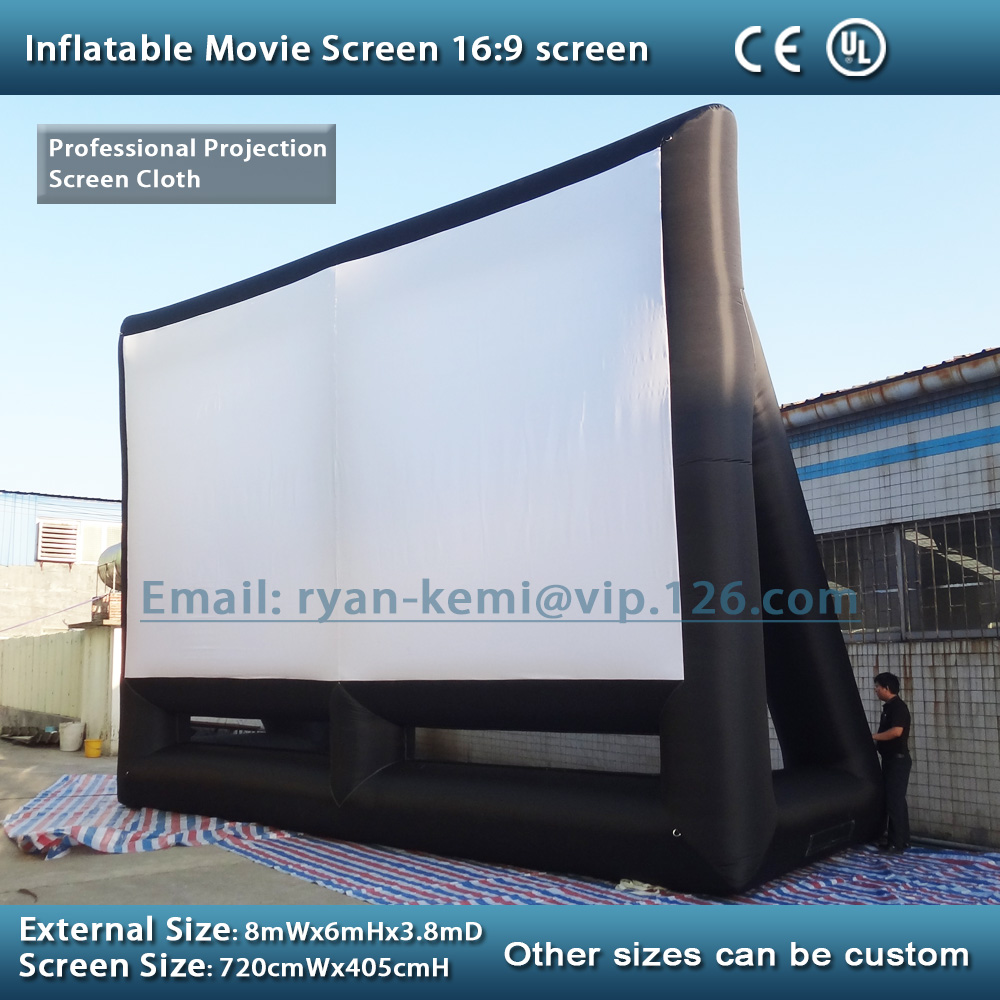 Free shipping 8x6m giant inflatable movie screen inflatable projection movie screen inflatable film screen full pvc inflatable movie screen giant outdoor inflatable movie screen
