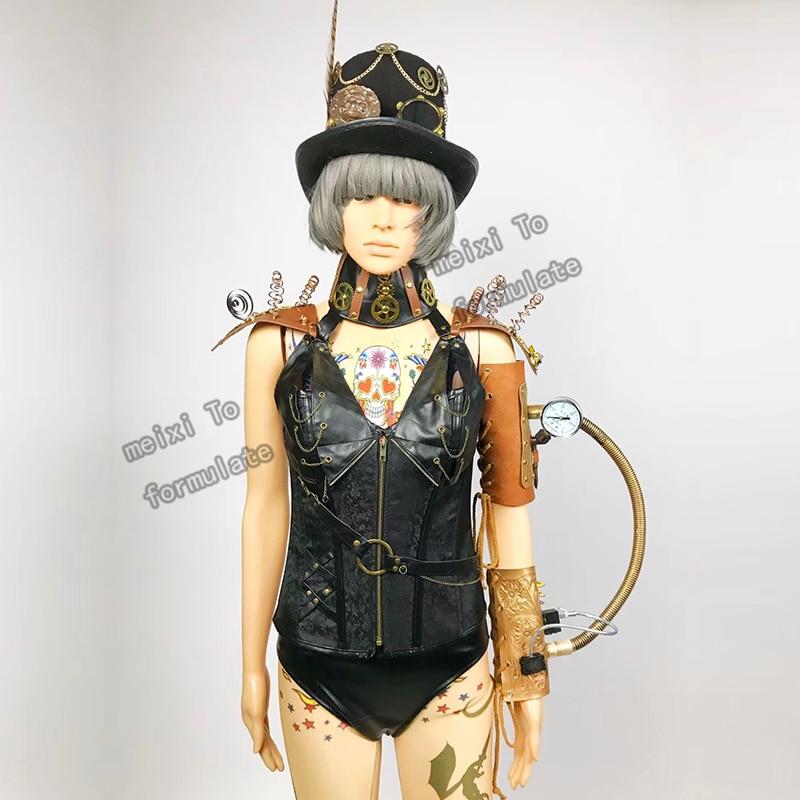 Punk gel D style headdress + shoulder bracelet + printed bottom + belt waist + shorts five piece bar nightclub concert singer da