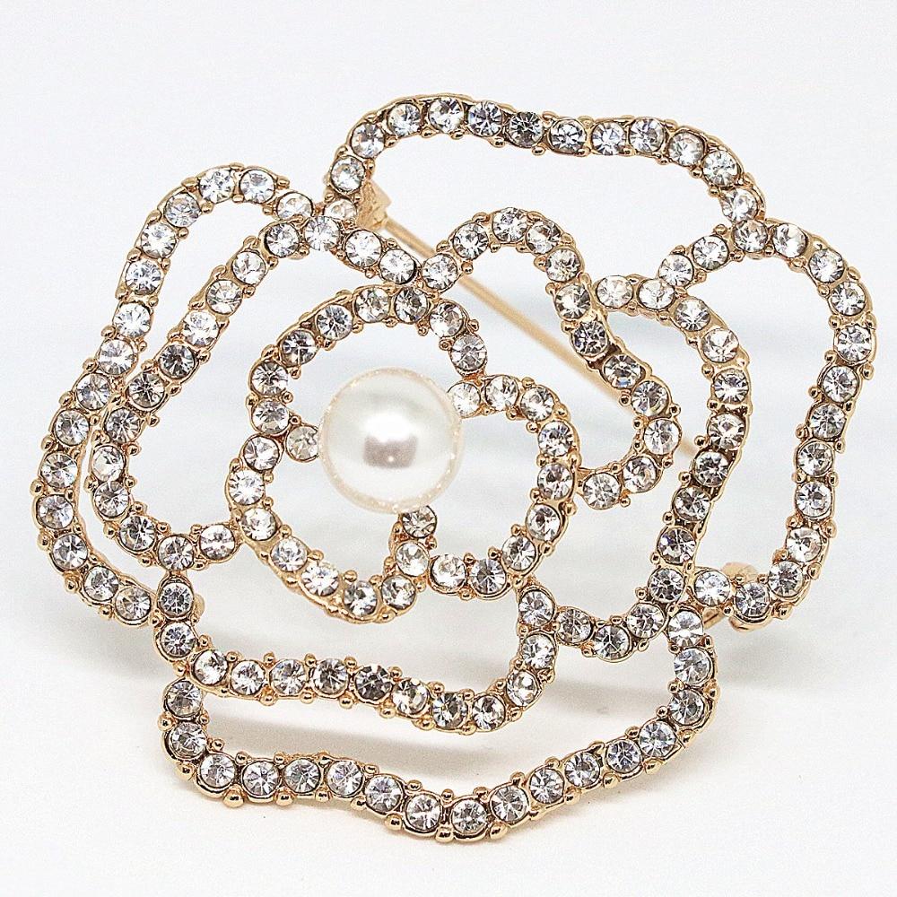 Pretty-GENTLE Austrian Crystal Brooch Pins for Women Flower Broche Jewelry Fashion Wedding Party Invitation