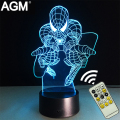 Marvel Spiderman Night Lights Novelty Superheroes 3D Touch Table lamp 7 Color RGB 3D LED NightLights For Children Kids Gifts