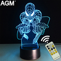 Marvel spiderman superhéroes 3d touch table lamp night lights novelty 7 color rgb 3d led nocturna para los regalos de los niños