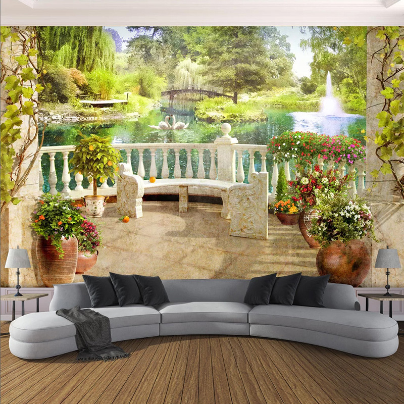 Photo Wallpaper 3D Stereo Balcony Garden Scenery Murals Living Room Dining Room Kitchen Waterproof Wallpapers Papel De Parede 3D
