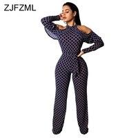 Plaid Print Rompers Womens Jumpsuit Off Shoulder Ruffles Long Sleeve Bandage Overall Elegant Belted Plus Size Wide Leg Bodysuit