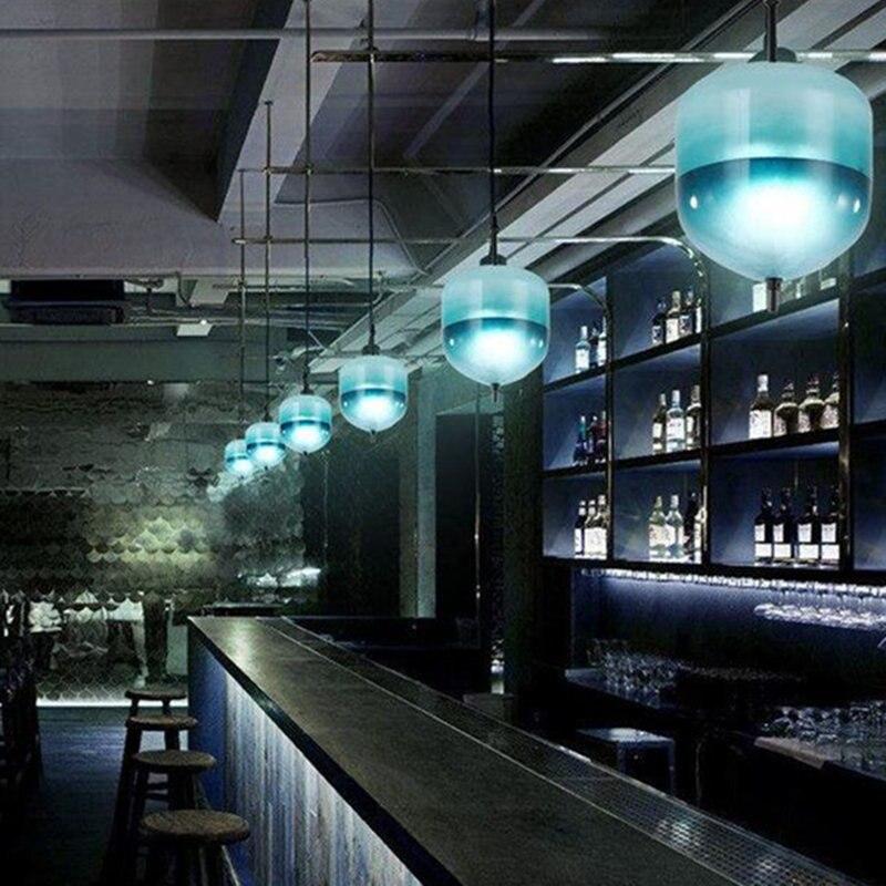 Lámpara nórdica cristal giroscopio LED luces colgantes luminaire suspendu tienda de ropa Hanglamp desván Industrial lámpara Drop ship - 5