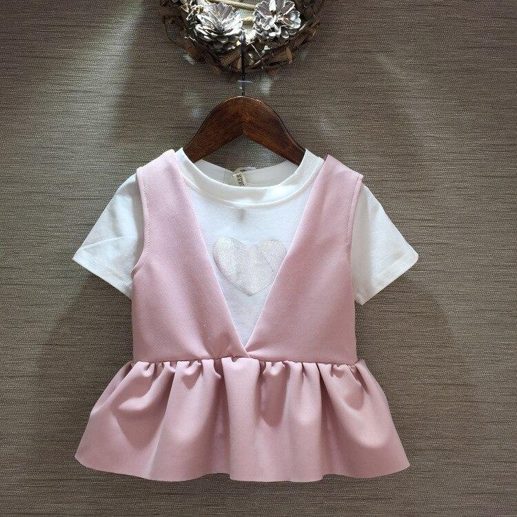 2016 New Style Korean Children's Garment 2 Pieces Set Girl Baby Love T-Shirt Undershirt Lotus Leaf Edge Vest Suit