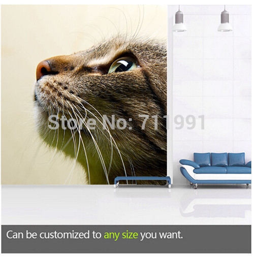 Free shipping custom large living room sofa bedroom wall mural wallpaper background of pet Cat free shipping custom murals worn coloured wood wall mural bedroom living room tv backdrop wallpaper