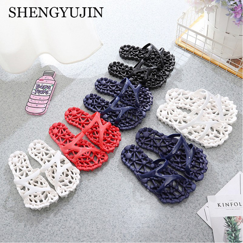Men and women slippers summer couple home acupressure massage slippers fashion soft hole leaking anti-slip sandals and slippers