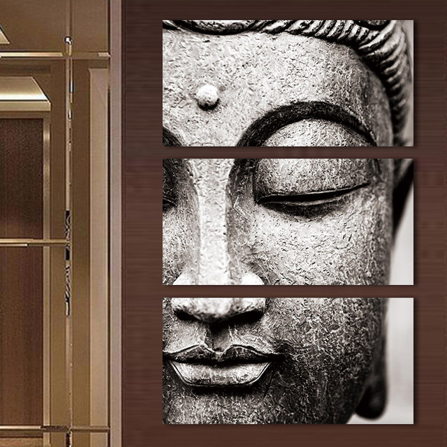 Frameless Gray 3 Panel Modern Large Oil Style Buddha Wall Art Print On Canvas Home Living Room