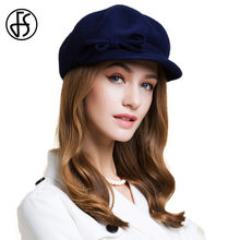 a717ec5b3f6 FS Women 100% Wool Beret Hat Navy Blue Solid Bowknot Baret 2018 Winter  Elegant Felt Fedora Caps For Ladies Chapeu Feminino Boina