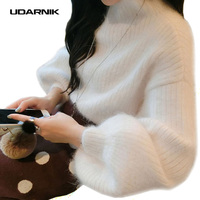 Women Lantern Puff Sleeve Loose Jumper Winter Thicken Warm Furry Knit Sweater Pullover Top Fashion 200