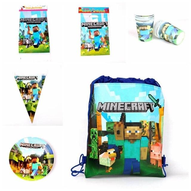 Tema da Festa de Aniversário Toalha de Mesa Conjunto de Talheres Copos de bolso Sorteio Minecraft Bandeiras Placas Crianças Favor Meninos Decoração Do Partido Suprimentos