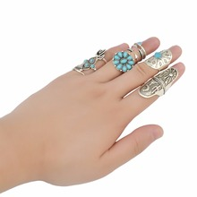 9Pcs/set Boho Gypsy Fashion Retro Silver Joint Knuckle Ring Inlay Resin Bead Nail Midi Finger Rings For Women Jewelry