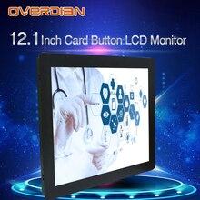 12 인치 lcd 모니터 저항 터치 산업용 제어 vga/dvi/usb 커넥터 금속 쉘 카드 버클 유형 설치