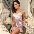 Quente do Verão da Senhora Sleepwear Sexy Backless Nightdress Estilingue Rendas Dormir Chemise Vestido camisa de Noite Vestido de Seda Sono das Mulheres Saia casa