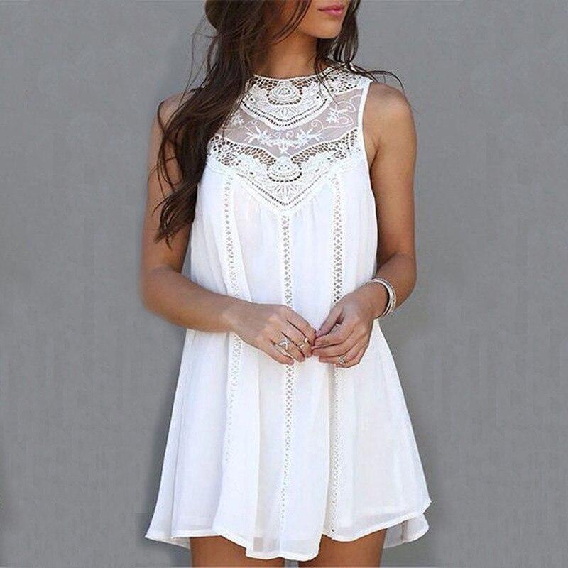 Femmes robes d'été 2017 été blanc dentelle Mini robes de soirée Sexy Club décontracté Vintage plage soleil robe grande taille