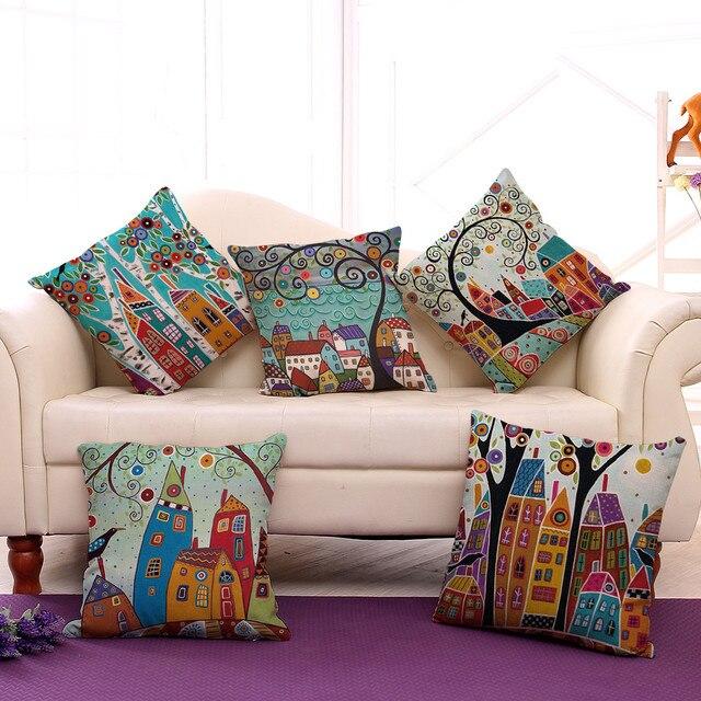 Gi 18 Abstrak Bangunan Dan Pohon Dicetak Kartun Sofa Throw Bantal Ruang Tamu Dekoratif