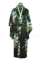 Black Vintage Japanese Women's Satin Kimono Bath Gown Yukata With Obi Dress Clothing Mujeres Quimono Flower One Size H0037