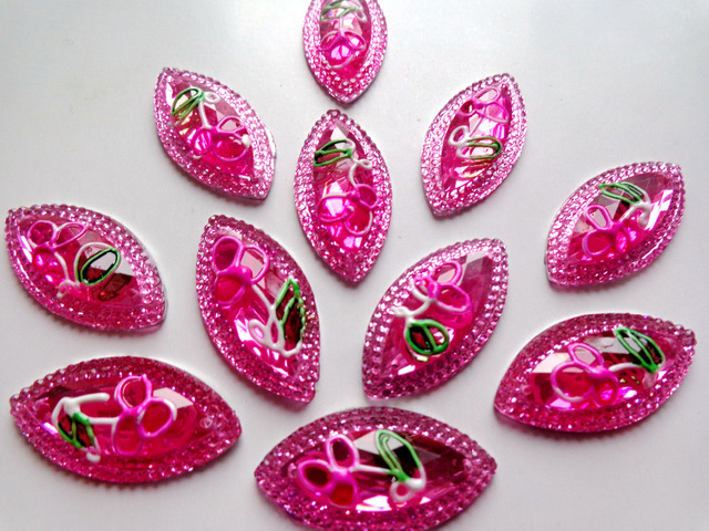 30pcs new fashion style sew on crystal pink rhinestones flatback horse eye  navette shape 15 30mm 2 holes rose red gem stones cd4a8bfc819c