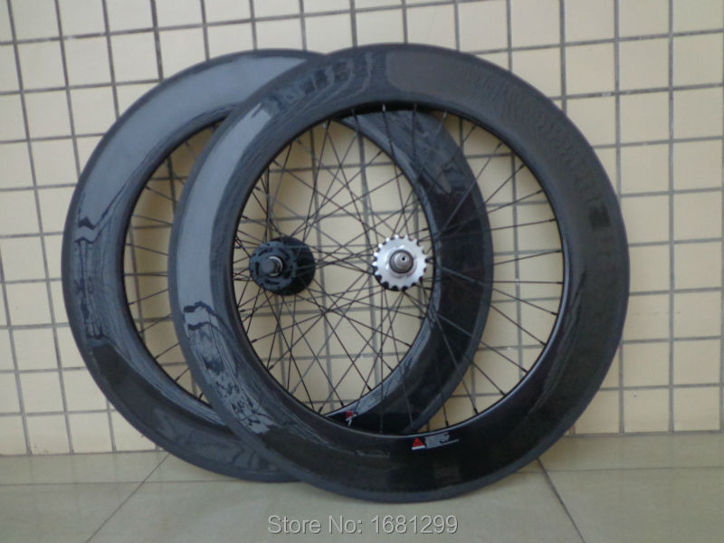 New 700C 88mm tubular rims track fixed gear bicycle aero 3K UD 12K full carbon fibre bike wheelset with Fixed Gear hub Free ship цена