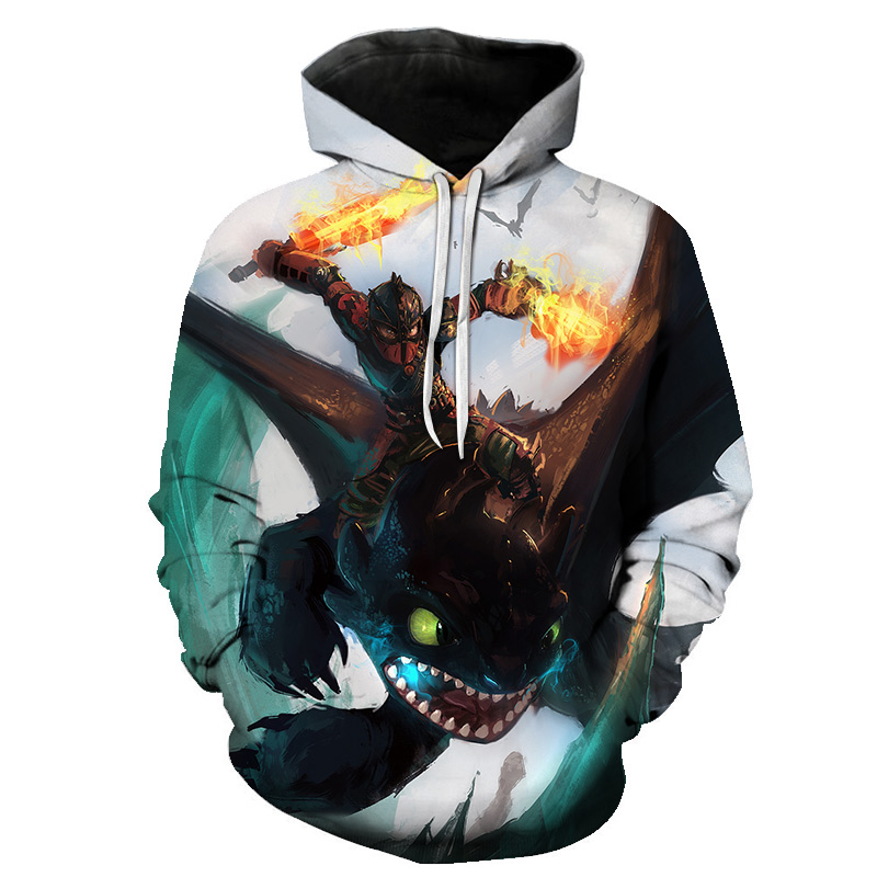 Hot style cute dragon 3D digital printed hoodie for men and women large size
