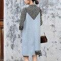 Mosaico irregular de lana correa de espagueti midi dress women dress longitud de la rodilla de la novedad 2017 nueva primavera ropa de estilo coreano