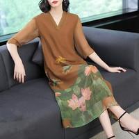 S 3XL Retro printed silk dress women's 2018 summer and autumn new chiffon loose V neck long dress high quality elegant Vestido