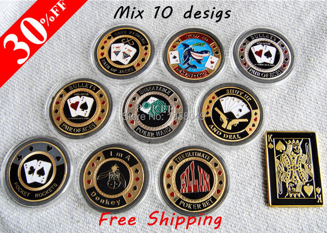US $48 0  Wholesale Poker Chip For Fun Joker Club Custom Coin Poker Token  Coins With Plastic Box,20pcs/lot free shipping,each design 2 pcs-in