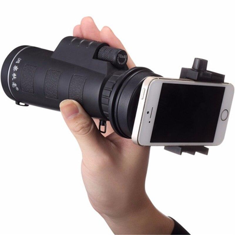 Universal 10x40 senderismo concierto teléfono Cámara telescopio lente Zoom telescopio lente teléfono soporte para iPhone para teléfonos inteligentes Samsung