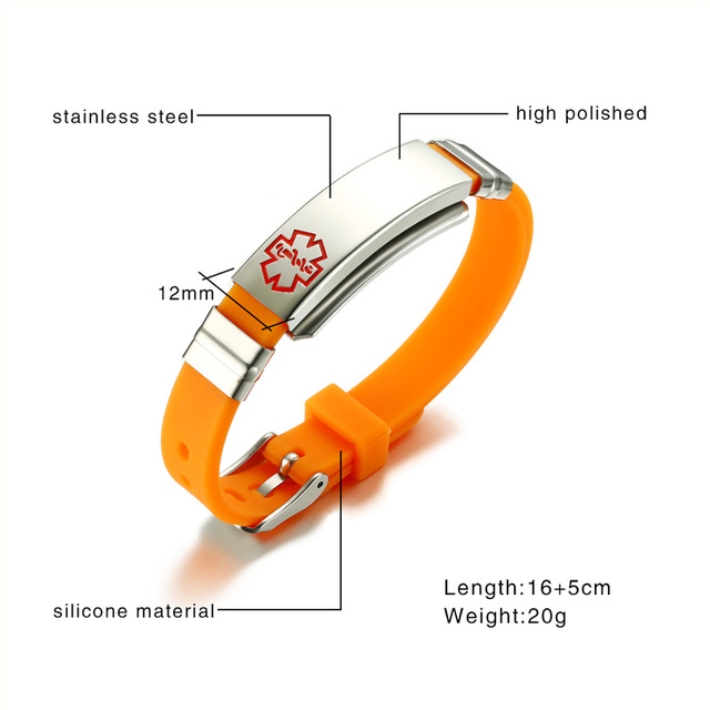 Custom Engrave Bracelet Medical Alert Tag Stainless Steel ID Hard Chain Orange Silicone Emergency Remind Gift