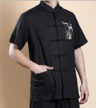 قميص أسود صيني تقليدي من القطن والكتان للرجال قميص الكونغ فو قميص تنين مطرز ياقة الماندرين S M L XL XXL XXXLshirt sheersuit combinationsuit drawing