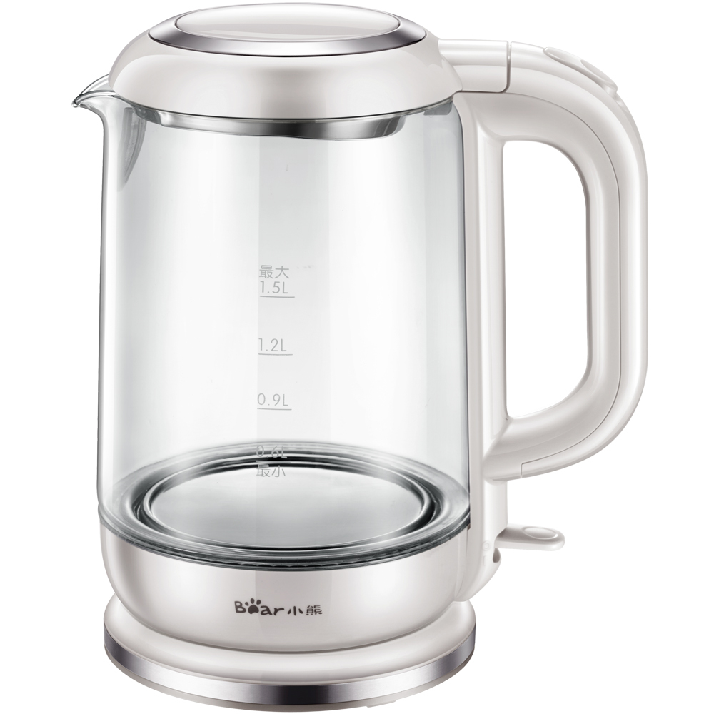 Bear ZDH-A15D1 Electric Kettle Automatic Power Off Thickened Glass Hot Kettle Kettle Blu-ray 1.5L Capacity