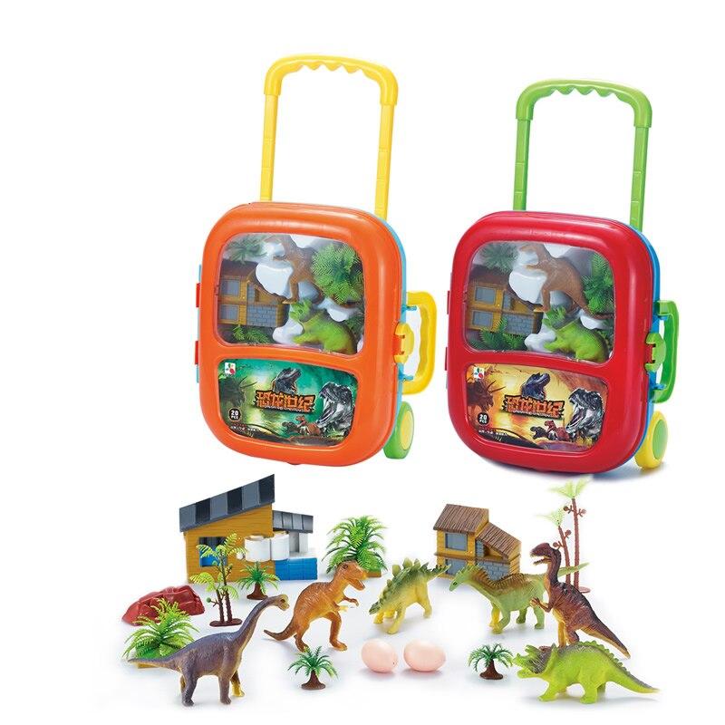 New Brand Baby Building Blocks Set Simulation Dinosaur Suit Trolley Case Model Brick For Children Plastic Building Toys JM72